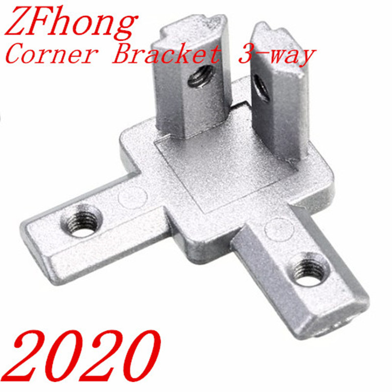 10pc 2020  Aluminum Profile 3-Way End Corner Bracket Connector For T Slot Aluminum Extrusion Profile With Screws