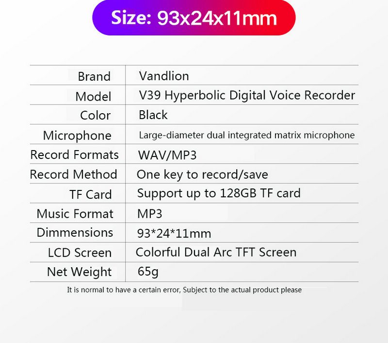 V39 Voice Activated Portable Recorder MP3 Player Telephone Audio Recording Dual Arc Microphone Digital Voice Recorder Dictaphone