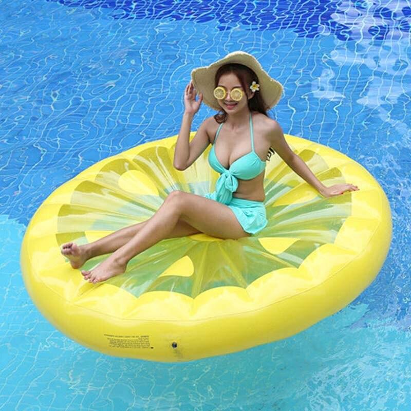 150cm limão inflável piscina anel flutuador gonflable natação colchão crianças float cama inflável piscina festa brinquedos boia piscina piscina piscina