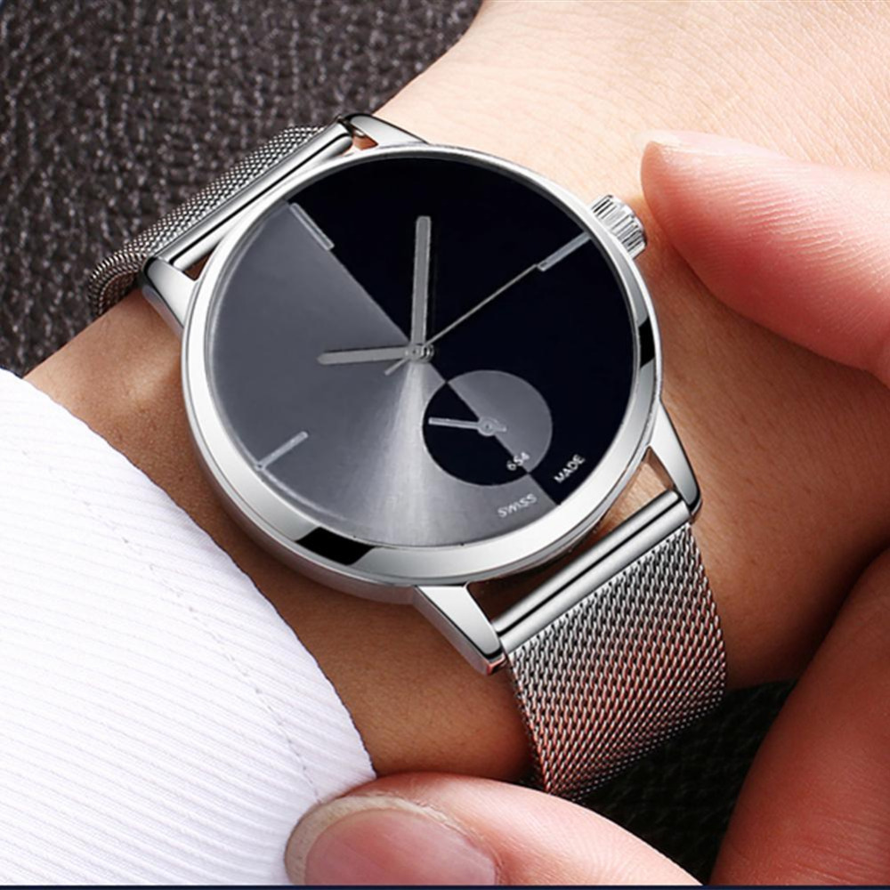 Fashion Stainless Steel Mesh Band Couple WristWatch Lover's Simple Casual  Watch  Gadget Men Unisex Gift