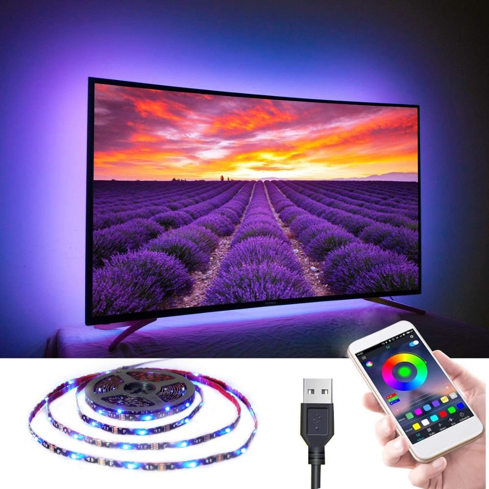 LED Strip Lights USB TV Backlight Kit Bluetooth App Control Music Sync Color Changing RGB5050 Flexible Tape Lighting for HDTV PC