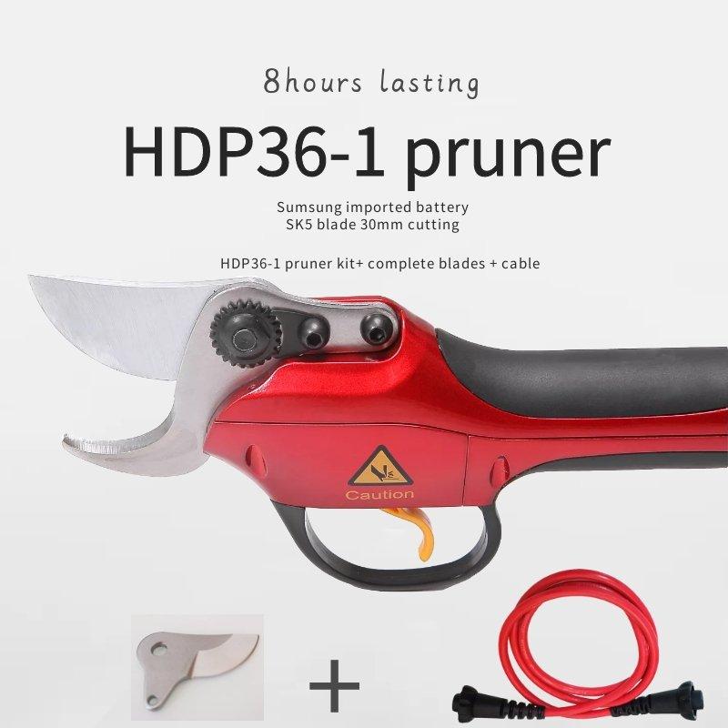 (HDP36-1 genėjimo įrenginys su vienu atsarginiu kilnojamuoju peiliuku ir viena atsarginiu kabelio jungtimi) Elektrinis sodo ir vynuogyno genėjimo įrenginys HDP genėjimo įrenginys