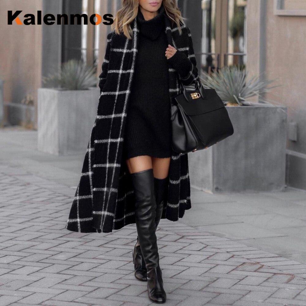 Woolen Plaid Hooded Long Coat Women Surchemise Femme Carreaux Spring Fall Winter Top Loose Streetwear Belt Plus Size Outwear