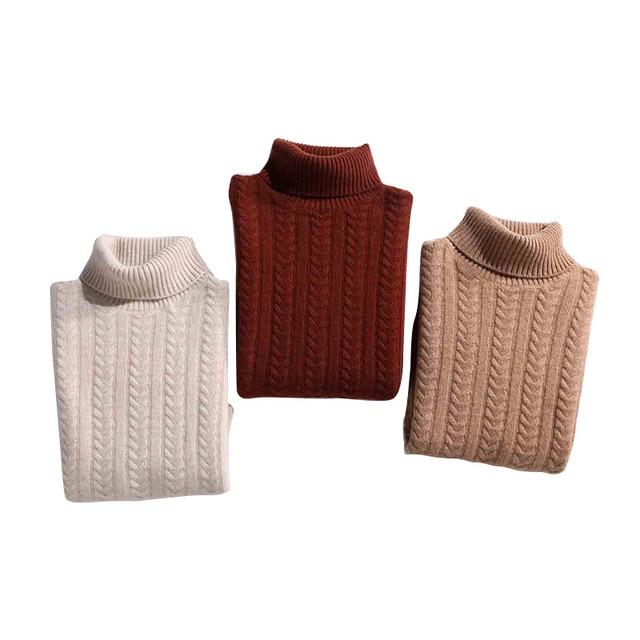 Laine mérinos pull en cachemire 2020 mode chandail épaississement vêtements dhiver pull à col roulé chaud femmes blé pic motif