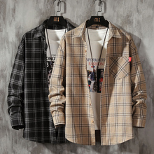 Checkered-Shirts Long-Sleeve Flannel Plaid Mens Male Casual 100%Cotton for Leisure Sanded