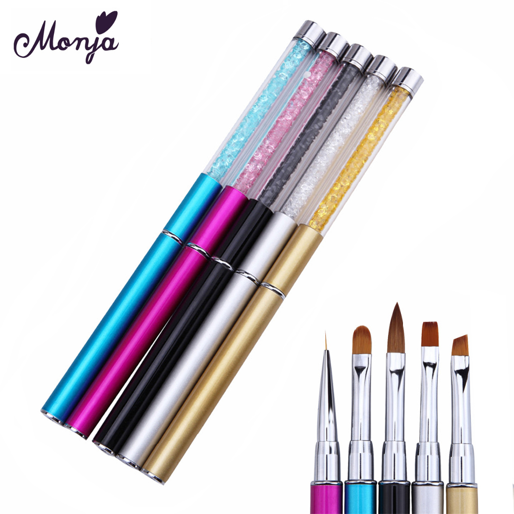 Monja Nail Art Rhinestone Acrylic Handle Carving Nails UV Gel Painting Brush Lines Liner DIY Design Drawing Pen Manicure Tool