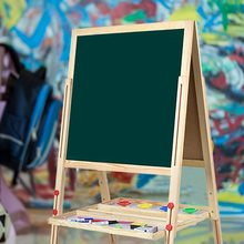 49x49cm Children's Painting Board Double-sided Height Adjustable Standing Pine wood blackboard with accessories For Kids Child