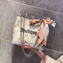 Women Bags 2019 New Transparent Handbag Women Chain Jelly Bag Shoulder Bag Women Crossbody Bag стоимость