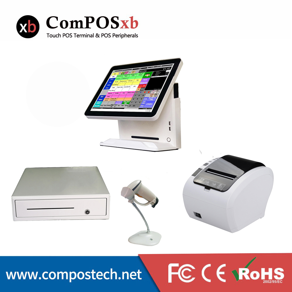 Free Shipping Point Of Sale Pos System Resistive Touch Display Pos Terminal Screen All In One Epos System With Printer Cash Box