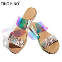 Woman Transparent Flat Slippers New Summer Female Bling Slip On Comfortable Casual Beach Shoes Ladies Slides Fashion Footwear