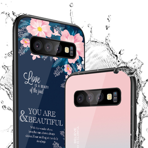 Image 2 - Gehard Glas Case Voor Samsung Galaxy S10 S9 S8 S20 Plus S10e S20 Ultra A51 A50 A71 A70 Shockproof Ster ruimte Gradiënt Cover