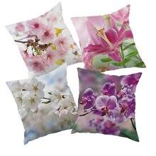 América estilo flores impresso capa de almofada poliéster fronha capa de almofada para casa sofá carro