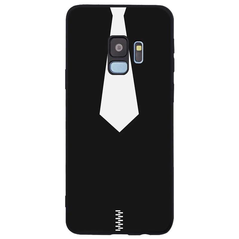 Đen Phong Cách Tối Giản Hình Bao Da Silicone Mềm TPU Đen Ốp Lưng Điện Thoại Samsung Galaxy S6 S7 Edge S8 S9 S10 plus Note 8 9