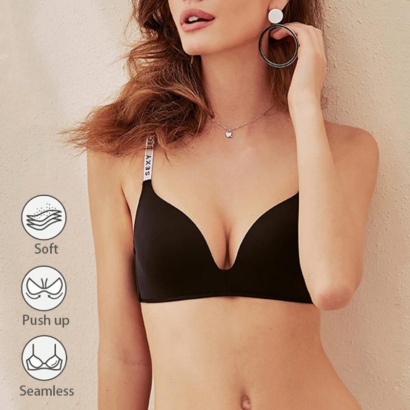 Fashion Letter Straps Bra Women Sexy Lingerie Seamless Bra Soft Wireless Bras Comfortable Underwear Adjustable Push Up Bralette