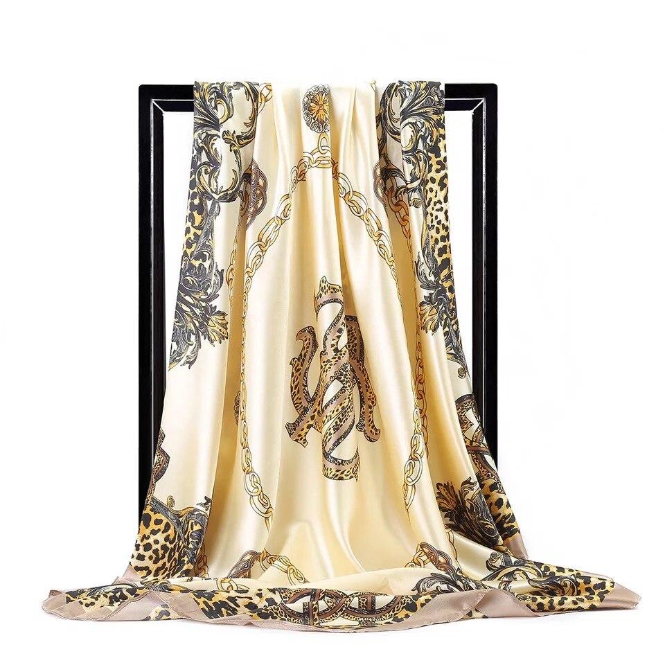 Silk Scarves Women Foulard 90*90cm Square Head Hijab Scarf Ladies Chiffon Shawl Wrap Muffler Pareo Bandanna Female Free Shipping