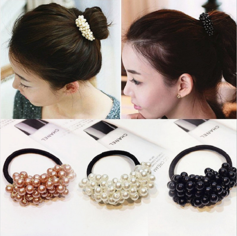 Women Hair Styling Accessorie Pearls Headbands Ponytail Holder Girls Scrunchies Vintage Elastic Hair Bands Rubber Rope Headdress