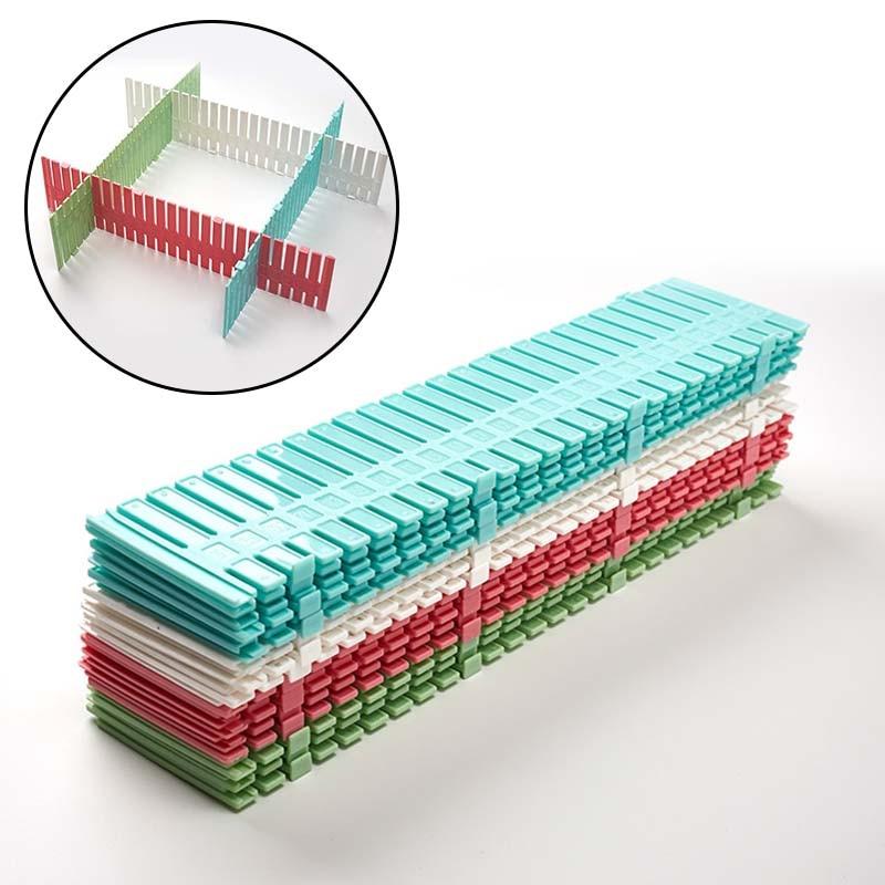 2/4PCS Drawer Dividers Drawer Separator Organizers DIY Plastic Grid Adjustable Plastic Divider Household Storage Division Tools