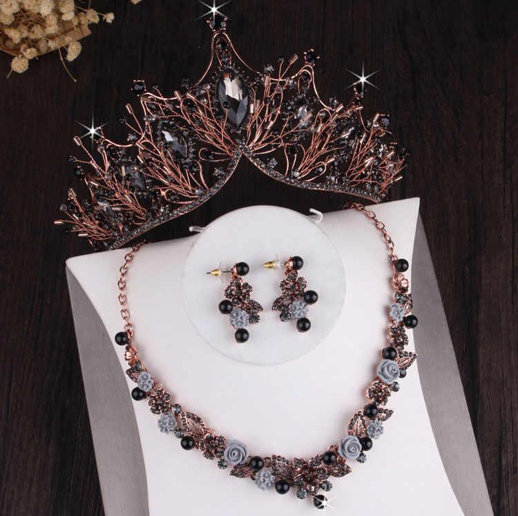 Barok Crystal Bloemen Bridal Sieraden Sets Bruiloft Kroon Tiara Oorbellen Choker Kettingen Set Afrikaanse Kralen Sieraden Set