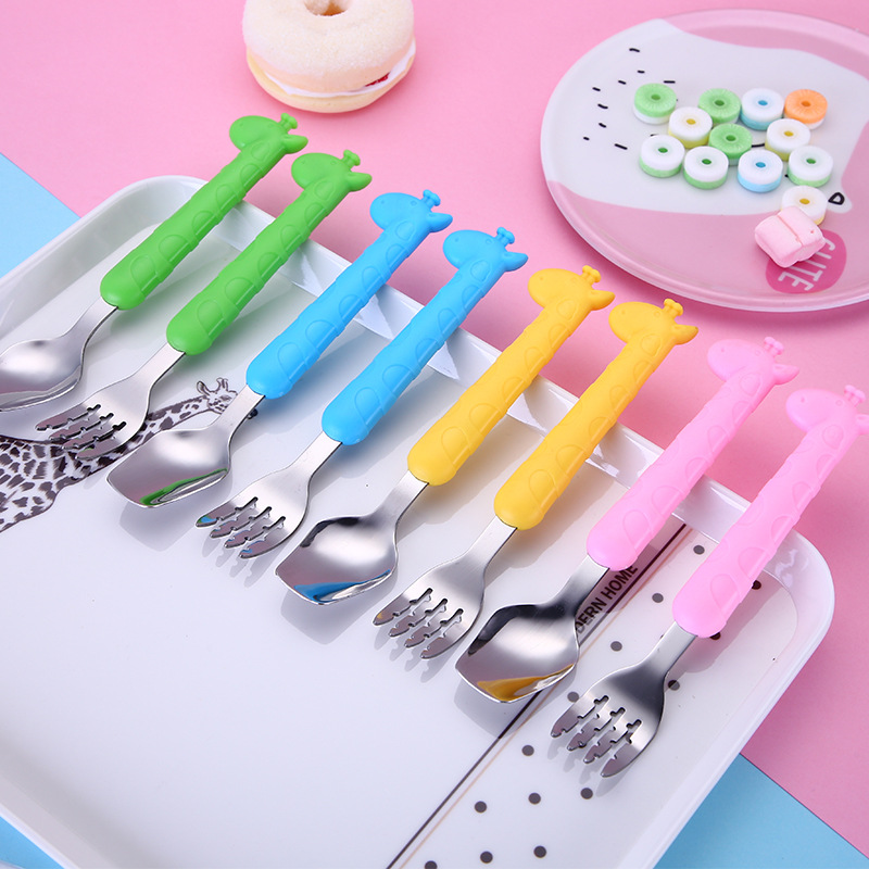 Qshare Baby Giraffe Dinnerware Dessert Spoon For Children Feeding Spoon Fork Baby Gadgets Feedkid Children Kids Tableware