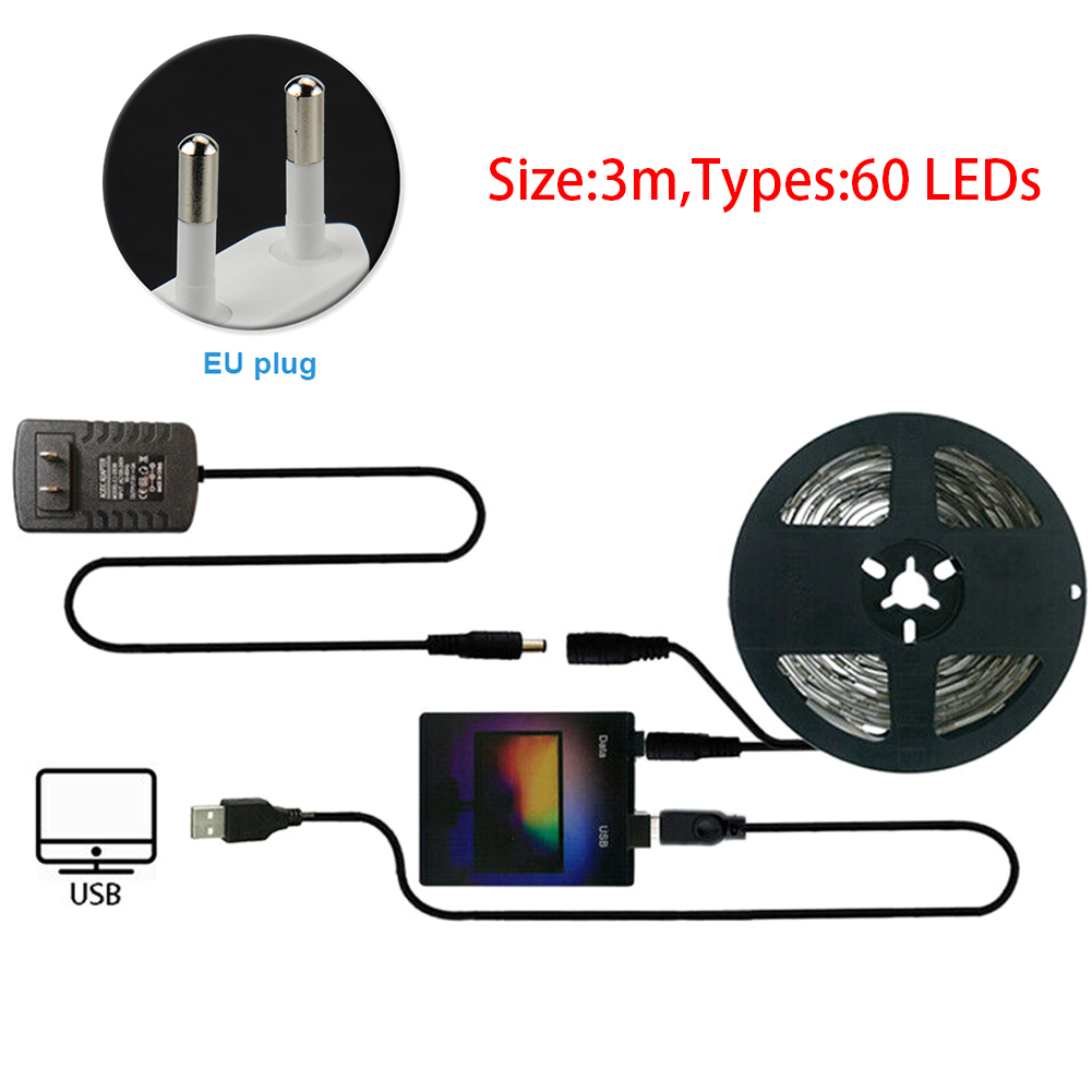 Home Decor Computer Dream Color Adhesive Screen Monitor LED Strip Light Kit Ambient TV Back Durable For Desktop PC RGB USB