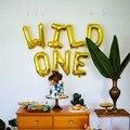 1 комплект 16 дюймов из розового золота и надписью «Wild One/один шарик из фольги в форме Baby Shower 1st на день рождения вечерние украшения воздушные ш...