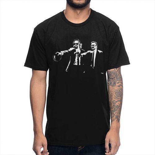 Big Lebowski Dude Abides Walter Pulp Fiction T Shirt Funny Unique Design Man's T-Shirt 100% Cotton Big Size Camiseta