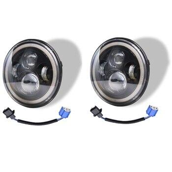 7 Inch Round LED Headlights 140W High Low Beam Halo Angel Eyes DRL for Jeep Wrangler JK JL TJ LJ CJ Land Rover