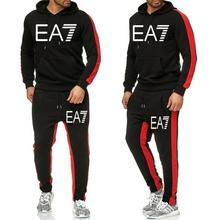 New Tracksuit men Sportswear Set Fleece Hoodie suit letter print Malechandal hombre Spring Autumn winter hoodie+Pants