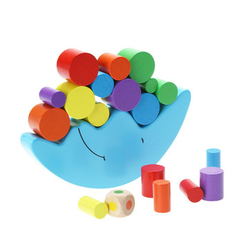 Color box Wood Moon Balance Game Kids Montessori Materials Educational Learning Wooden Toys Balancing Blocks Baby Children flyingtown montessori teaching aids balance scale baby balance game early education wooden puzzle children toys