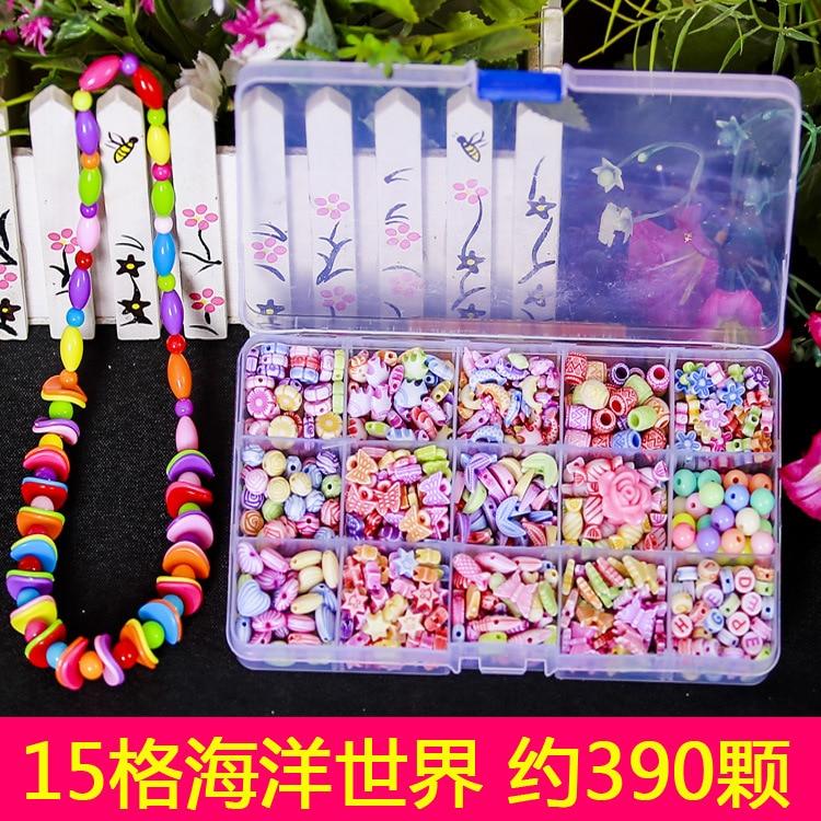 Children Handmade DIY Beaded Bracelet Educational Toy Necklace Baby Weak Sight Training Wear Beads Bead-stringing Toy
