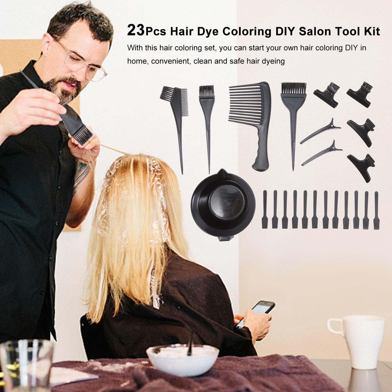 23Pcs Hair Dye Coloring DIY Salon Tool Kit Hair Color Dye Tint Tool Set Hair Tinting Bowl Dye Brush Comb Clips Mixing Spatulas