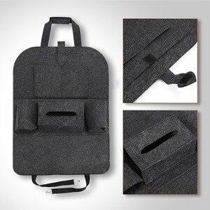 Image 4 - 1pc universel voiture siège arrière sac de rangement organisateur tronc élastique feutre sac de rangement 6 poches organisateur suspendus voiture accessoires