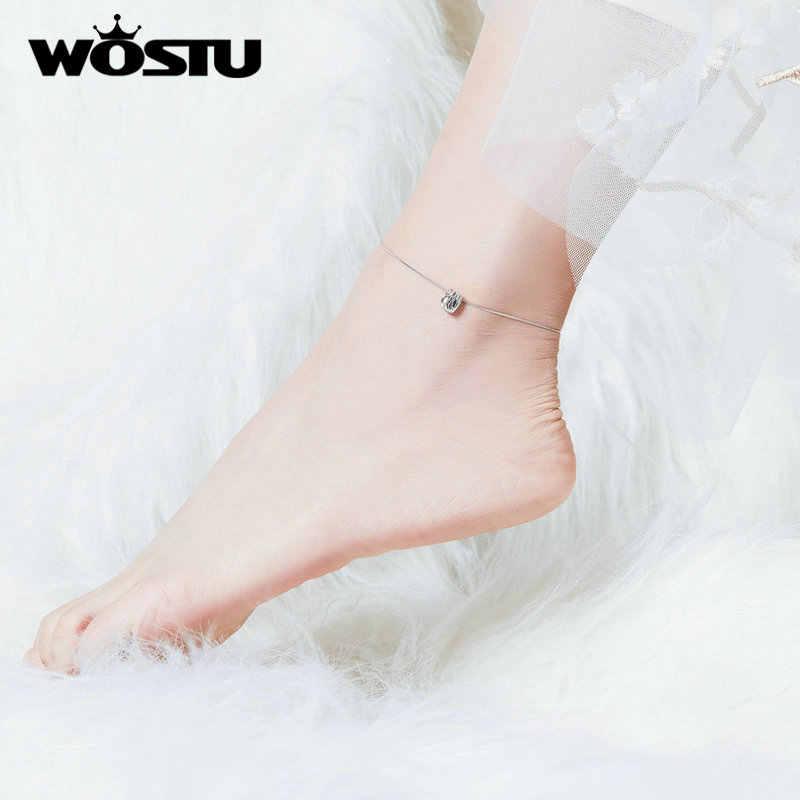 WOSTU 100% 925 srebro delikatne serce Anklet łańcuch bransoletka dla kobiet Chian Link moda obrączki biżuteria na stopy CQT013