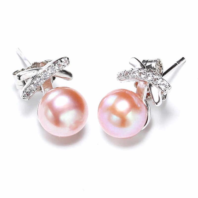 DMCEFP003 6-7MM Pearl Earrings Real 925 Sterling Silver Butterfly Pearl Earrings For Women