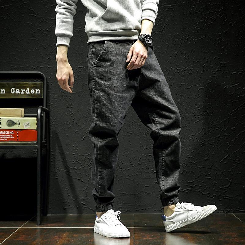 2020 Jeans Men's Loose Solid Color Korean Japanese Fashion Brand Leisure Joker 9-point Foot Pants Men