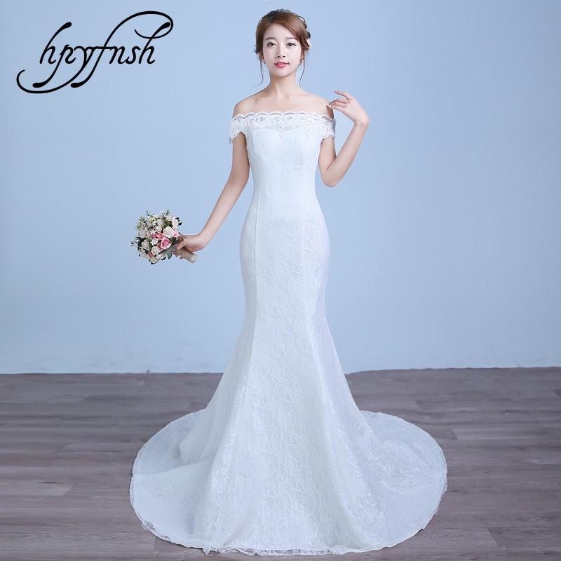 Korean Off White Red New Fashion Simple Off The Shoulder Boat Neck Mermaid Wedding Dress Vintage Turmpet Bride Robe De Mariage