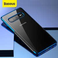 Baseus caso de telefone de luxo para samsung s10 s10 + ultra fino chapeamento macio silicone caso para samsung galaxy s10 s10 + capa do telefone