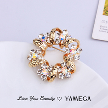 Fashion Gold Rhinestone Brooch Pin Flower Brooches Office Pins Trendy Jewelry Accesorries Scarf Garland For Women Gifts