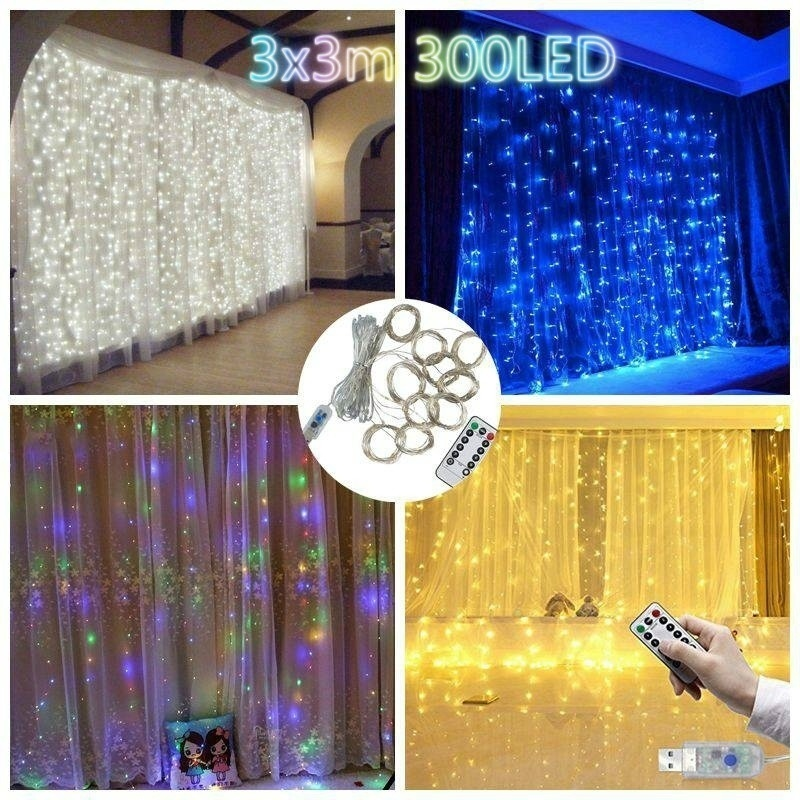 3M X 3 M LED Fairy Light Garland Curtain Lamp Remote Control USB String Lights New Year Christmas Decor for Home Bedroom Window