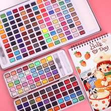 До 120 цветов Твердые акварельные краски в наборе портативная