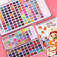 Ensemble de peinture à l'aquarelle, jusqu'à 120 couleurs unies, brosse à aquarelle Portable pour débutant, fournitures d'art