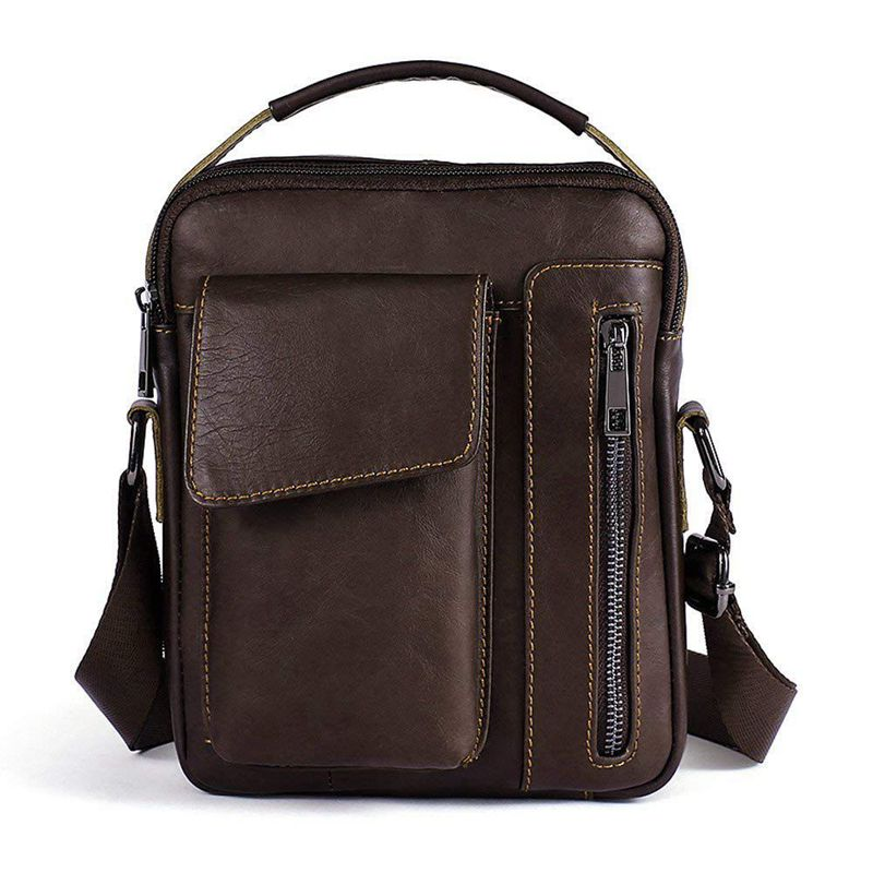 New Shoulder Bag Genuine Leather For Men Briefcase Small Shoulder Bag For Casual, Business (Coffee Color)
