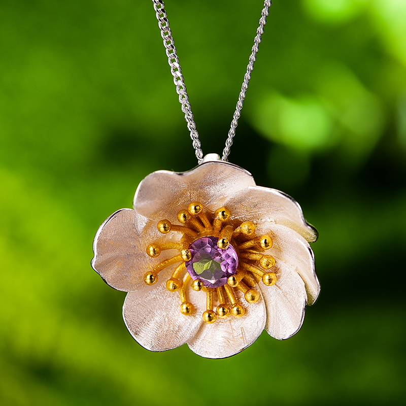 Image 3 - 蓮楽しい咲くアネモネ花ネックレスなしリアル 925 スターリングシルバー手作りデザイナー女性のためのペンダント   -