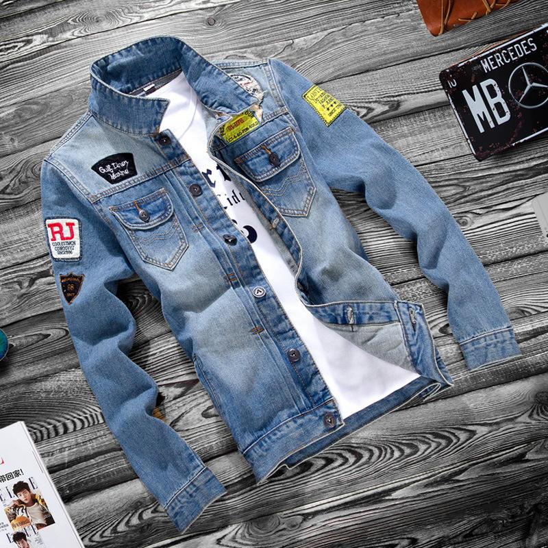 Autumn Youth Jeans Jacket Men Casual Holes Turn-down Collar Korean Slim Jacket 1