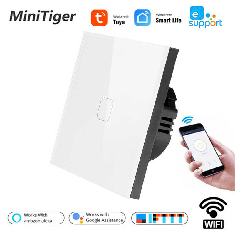Tuya/Smart Life/ewelink 1/2 Gang 1 Way WiFi luz de pared Interruptor táctil para Google Home alexa de Amazon, Control de voz