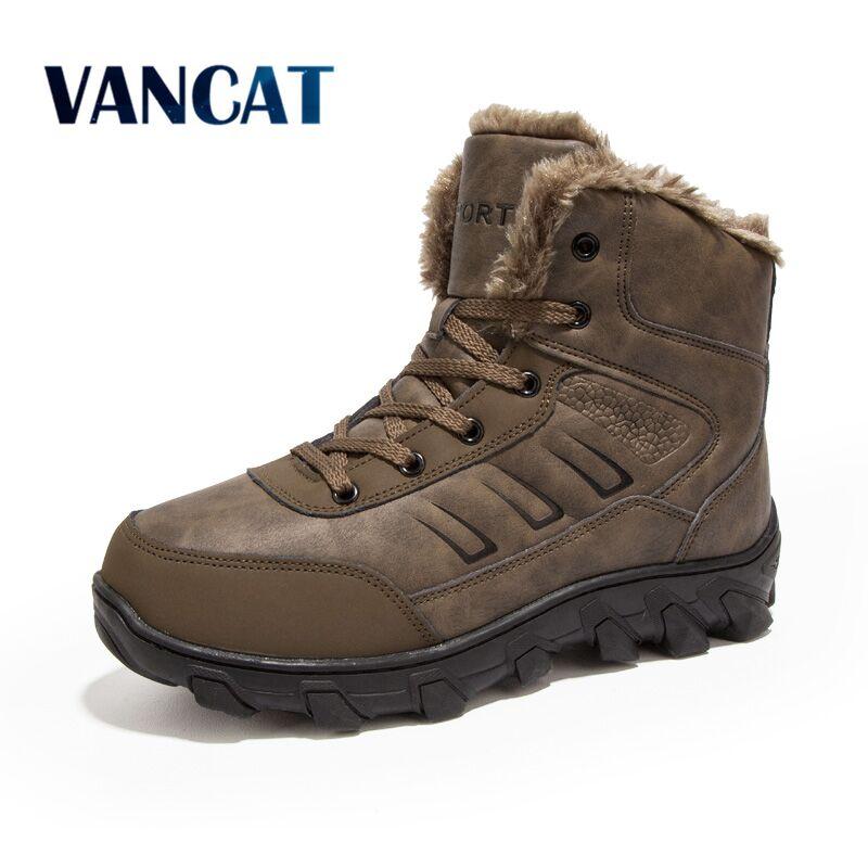 Vancat Brand Winter Men Non-slip Working Boots Plush Keep Warm Waterproof Plus Fur Snow Boots Men Sneakers Shoes Big Size 39-48