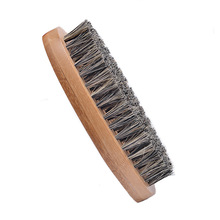 1pcs Hot Sale Men Beard Brush Boar Hair Bristle Mustache Military Hard Round Wood Handle Comb Styling