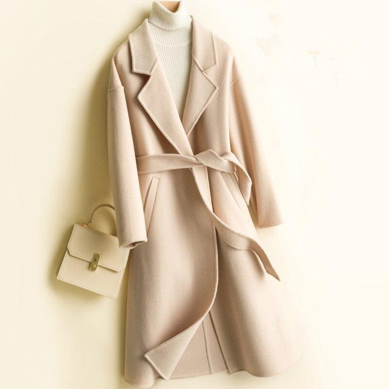 2020 Autumn Winter New Women Double-sided Wool Coat Fashion Long Office Woolen coat women Outerwear Elegant With Belt Overcoat