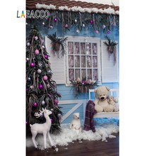 Laeacco Room Window Christmas Tree Bench Animal Toys Photography Backgrounds Customized Photographic Backdrops For Photo Stadio