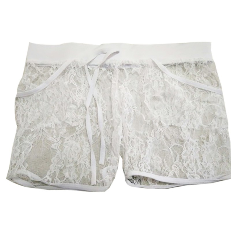 Sexy Lace Sheer Hollow Out Elastic Shorts Women's Drawstring Summer Shorts